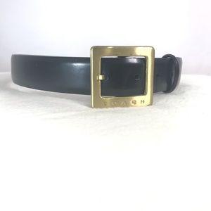 Vintage Coach Belt Black Leather Gold Buckle